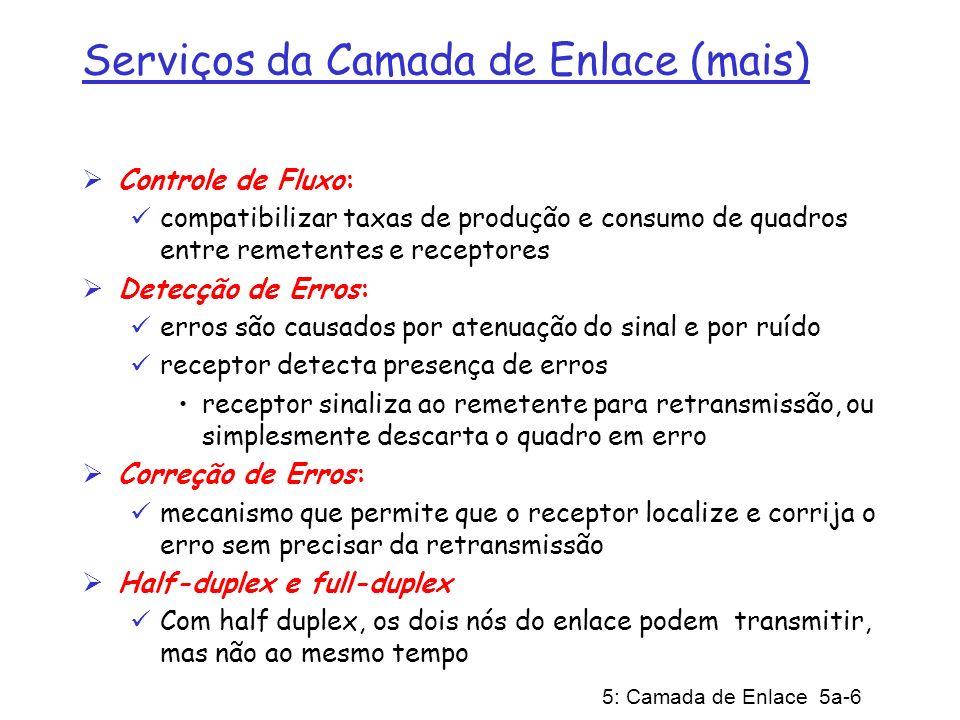 5: Camada de Enlace 5a-6 Serviços da Camada de Enlace (mais) Controle de Fluxo: compatibilizar taxas de produção e consumo de quadros entre remetentes