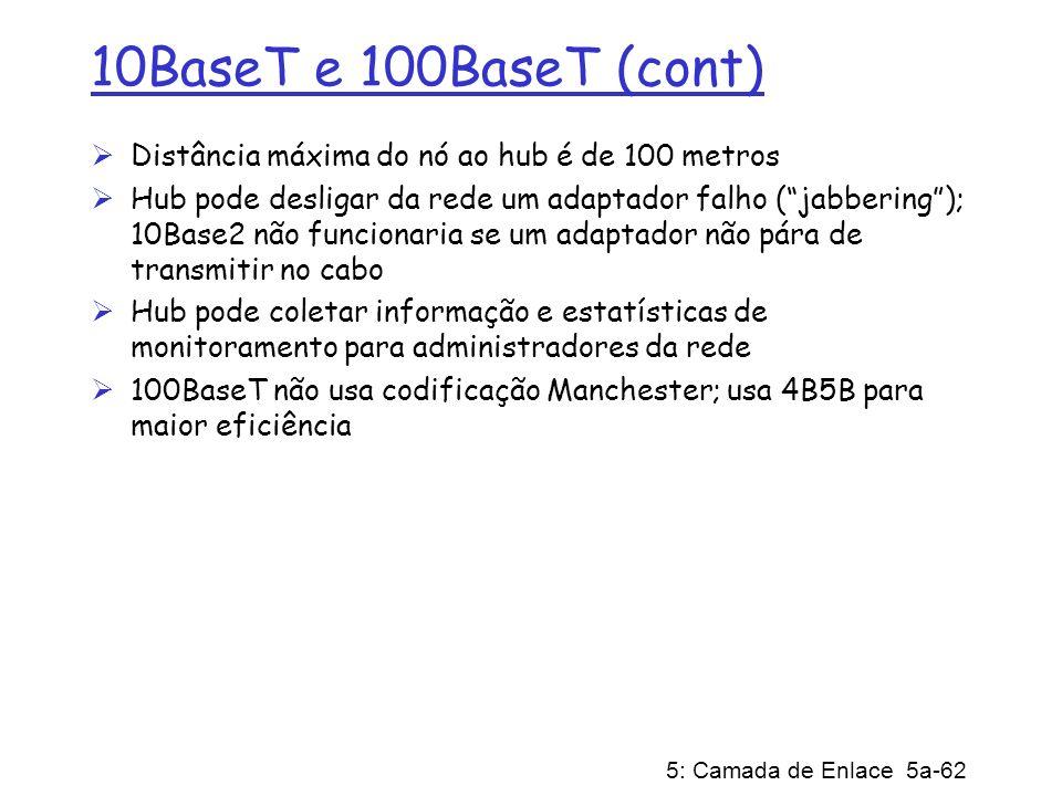 5: Camada de Enlace 5a-62 10BaseT e 100BaseT (cont) Distância máxima do nó ao hub é de 100 metros Hub pode desligar da rede um adaptador falho (jabber
