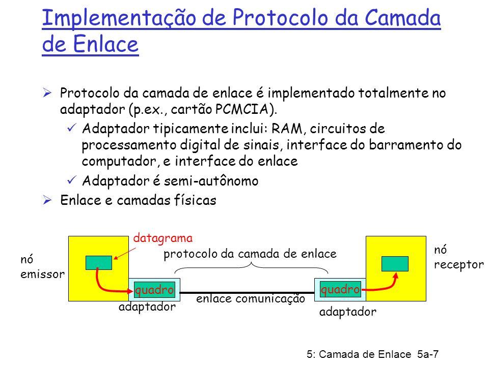 5: Camada de Enlace 5a-28 Slotted ALOHA Considerações Todos os quadros tem o mesmo tamanho Tempo é dividjdo em intervalos iguais (tempo para transmitir um quadro) O nós iniciam a transmissão apenas no início do intervalo; Nós são sincronizados Se 2 ou mais nós transmitem em um intervalo, todos os nós detectam colisão; Operação Quando um nó tem um quadro novo para transmitir, ele tenta transmiti-lo no próximo intervalo; Se não há colisão, o nó pode enviar um novo quadro no próximo intervalo; Se tem colisão, o nó retransmite o quadro no intervalo subsequente com probabilidade p, até que o quadro seja transmitido com sucesso;