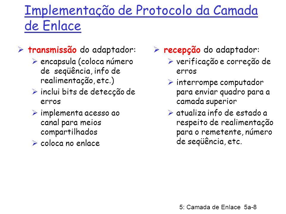 5: Camada de Enlace 5a-99 PPP Requisitos de Projeto [RFC 1557] Enquadramento de pacote: encapsulamento do datagrama da camada de rede no quadro da camada de enlace transporta dados da camada de rede de qualquer protocolo de rede (não apenas o IP) ao mesmo tempo capacidade de separar os protocolos na recepção tranparência de bits: deve trasnportar qualquer padrão de bits no campo de dados detecção de erros (mas não correção) gerenciamento da conexão: detecta, e informa flhas do enlace para a camada de rede negociação de endereço da camada de rede: os pontos terminais do enlace podem aprender e configurar o endereço de rede de cada outro