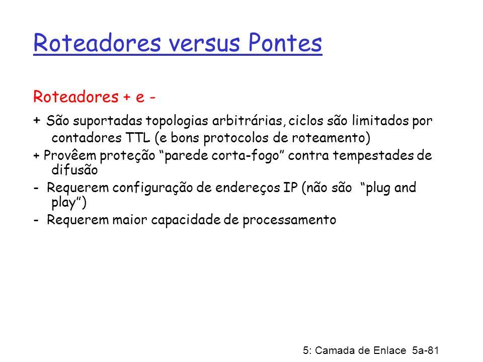 5: Camada de Enlace 5a-81 Roteadores versus Pontes Roteadores + e - + São suportadas topologias arbitrárias, ciclos são limitados por contadores TTL (