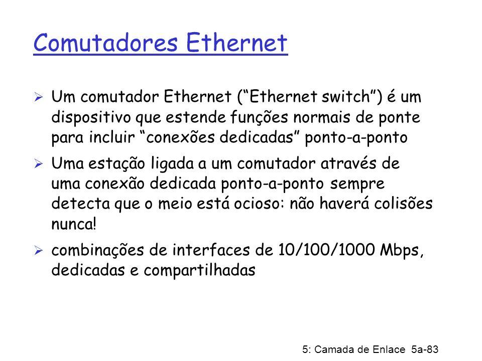 5: Camada de Enlace 5a-83 Comutadores Ethernet Um comutador Ethernet (Ethernet switch) é um dispositivo que estende funções normais de ponte para incl