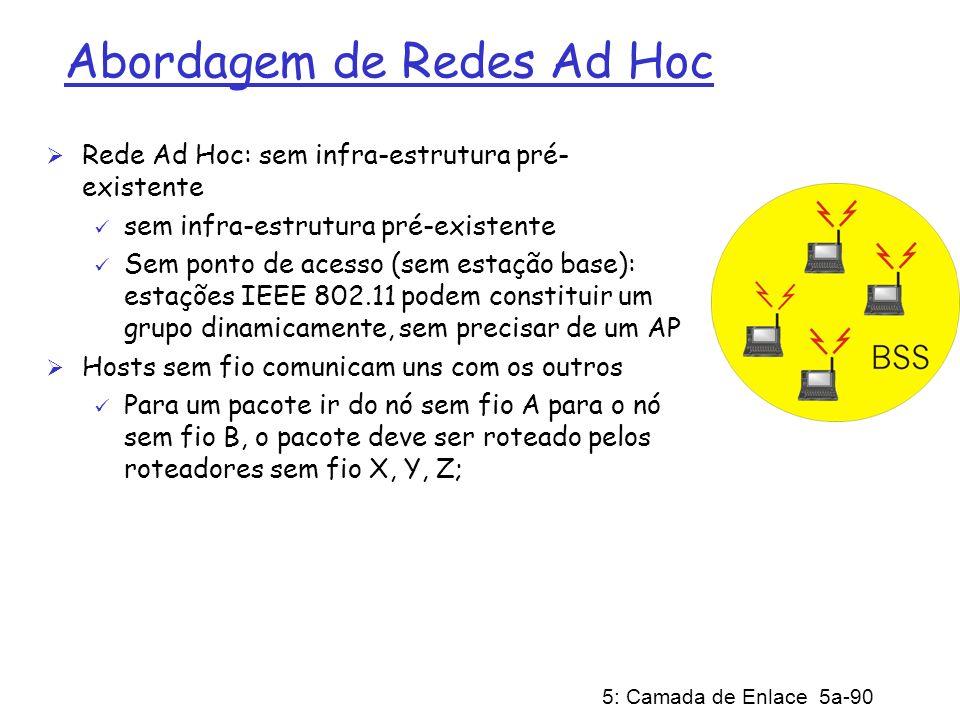 5: Camada de Enlace 5a-90 Abordagem de Redes Ad Hoc Rede Ad Hoc: sem infra-estrutura pré- existente sem infra-estrutura pré-existente Sem ponto de ace
