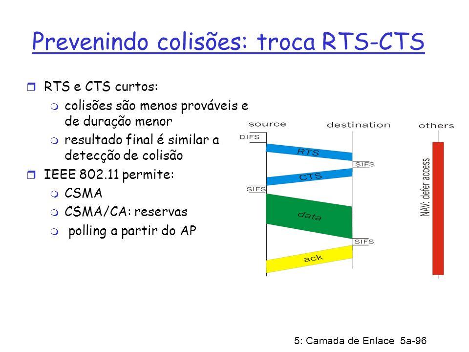 5: Camada de Enlace 5a-96 Prevenindo colisões: troca RTS-CTS r RTS e CTS curtos: m colisões são menos prováveis e de duração menor m resultado final é
