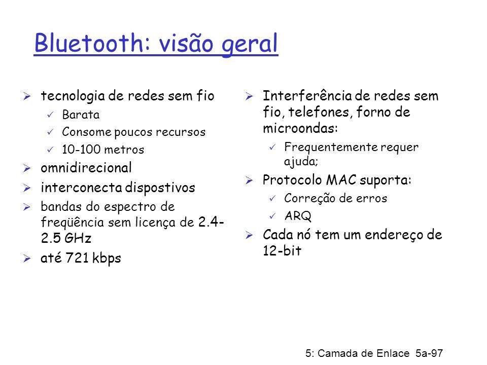 5: Camada de Enlace 5a-97 Bluetooth: visão geral tecnologia de redes sem fio Barata Consome poucos recursos 10-100 metros omnidirecional interconecta