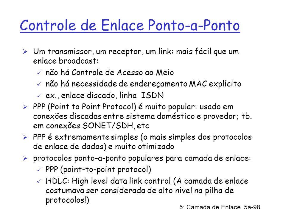 5: Camada de Enlace 5a-98 Controle de Enlace Ponto-a-Ponto Um transmissor, um receptor, um link: mais fácil que um enlace broadcast: não há Controle d