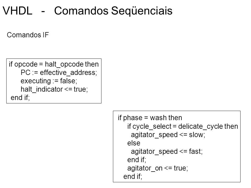 VHDL - Comandos Seqüenciais if opcode = halt_opcode then PC := effective_address; executing := false; halt_indicator <= true; end if; Comandos IF if p