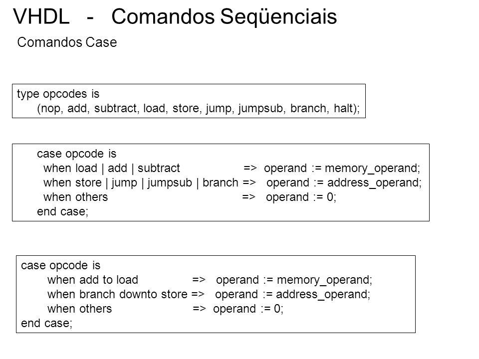 VHDL - Comandos Seqüenciais Comandos Case case opcode is when load | add | subtract => operand := memory_operand; when store | jump | jumpsub | branch