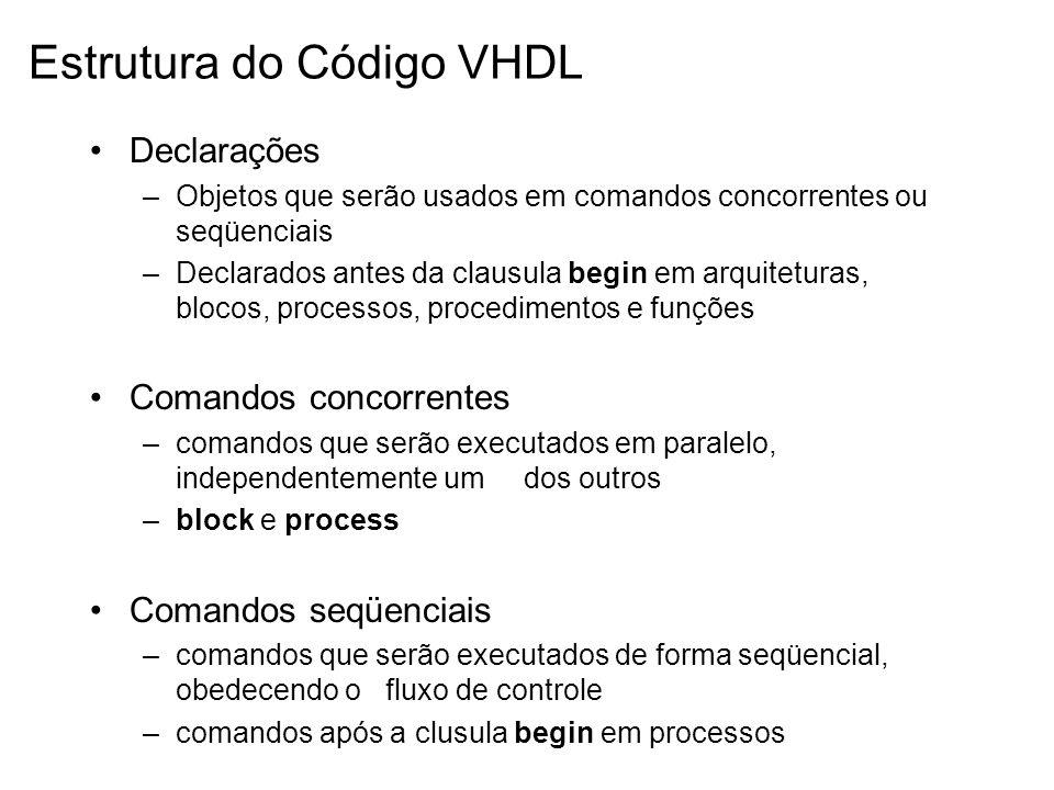 Estrutura do Código VHDL Declarações –Objetos que serão usados em comandos concorrentes ou seqüenciais –Declarados antes da clausula begin em arquitet