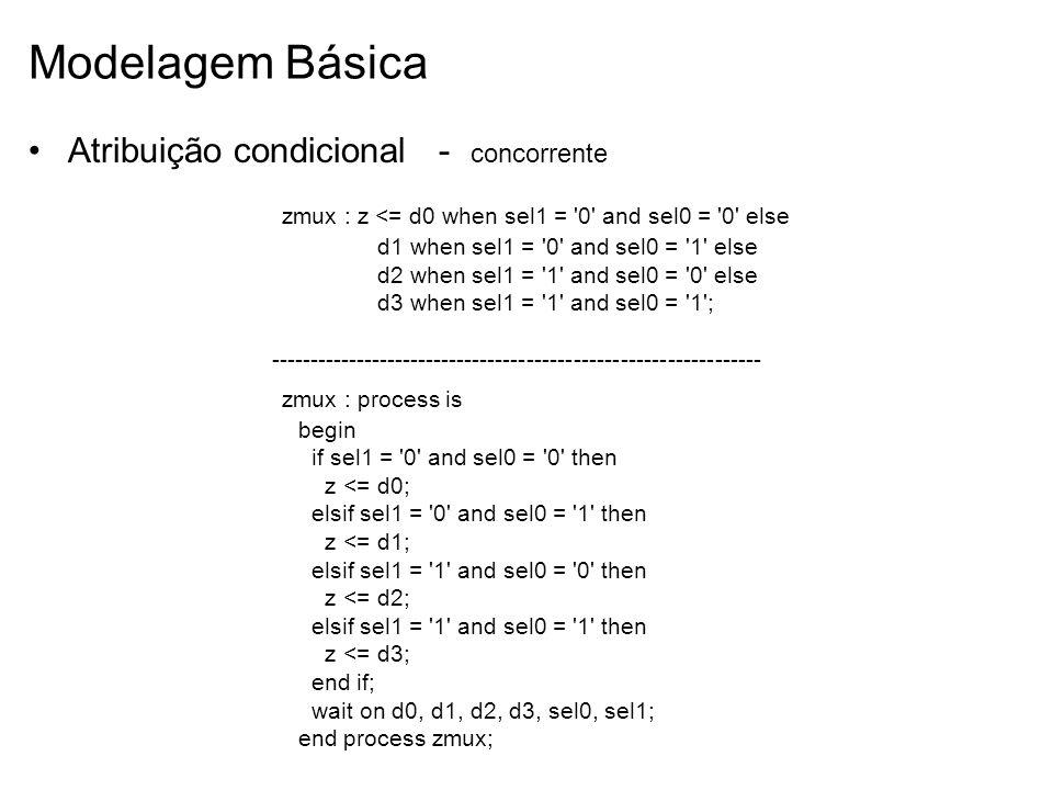 Modelagem Básica Atribuição condicional - concorrente zmux : z <= d0 when sel1 = '0' and sel0 = '0' else d1 when sel1 = '0' and sel0 = '1' else d2 whe