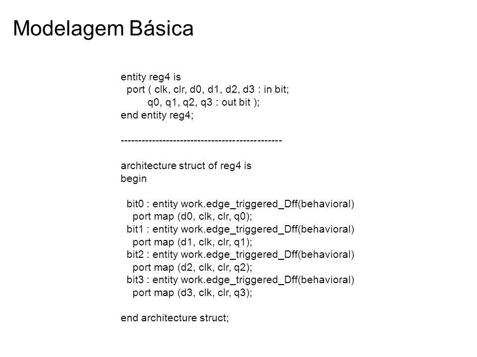 Modelagem Básica entity reg4 is port ( clk, clr, d0, d1, d2, d3 : in bit; q0, q1, q2, q3 : out bit ); end entity reg4; -------------------------------