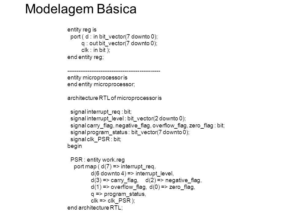 Modelagem Básica entity reg is port ( d : in bit_vector(7 downto 0); q : out bit_vector(7 downto 0); clk : in bit ); end entity reg; -----------------