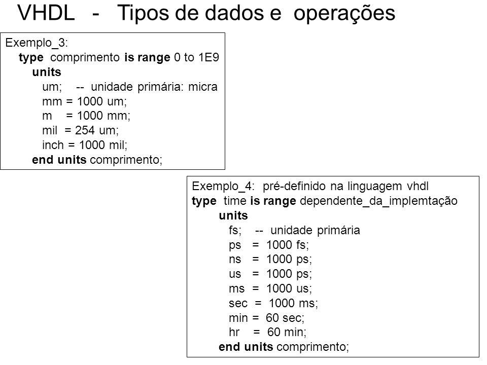VHDL - Tipos de dados e operações Exemplo_4: pré-definido na linguagem vhdl type time is range dependente_da_implemtação units fs; -- unidade primária
