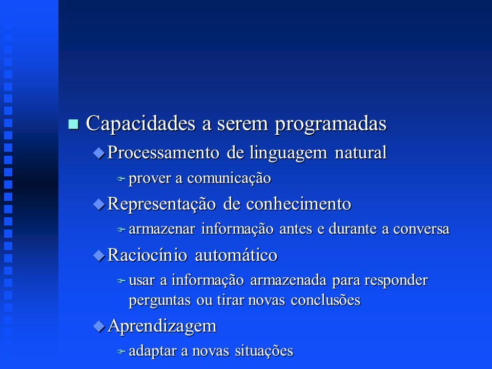 n Capacidades a serem programadas u Processamento de linguagem natural F prover a comunicação u Representação de conhecimento F armazenar informação a