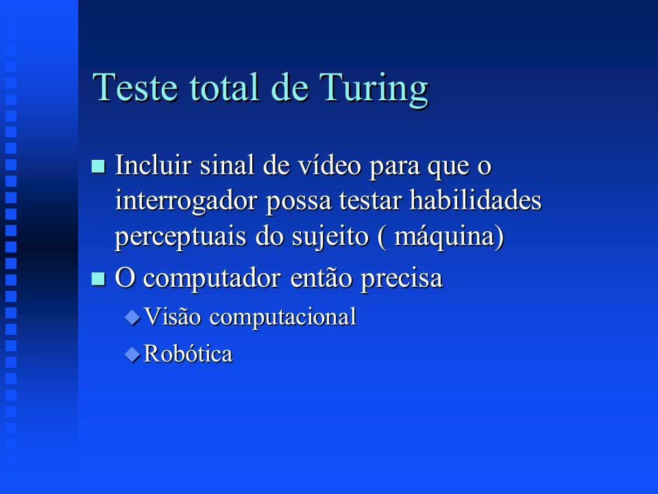 Teste total de Turing n Incluir sinal de vídeo para que o interrogador possa testar habilidades perceptuais do sujeito ( máquina) n O computador então