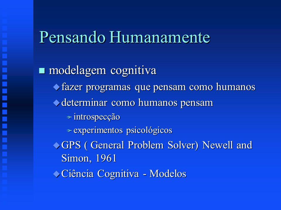 Pensando Humanamente n modelagem cognitiva u fazer programas que pensam como humanos u determinar como humanos pensam F introspecção F experimentos ps