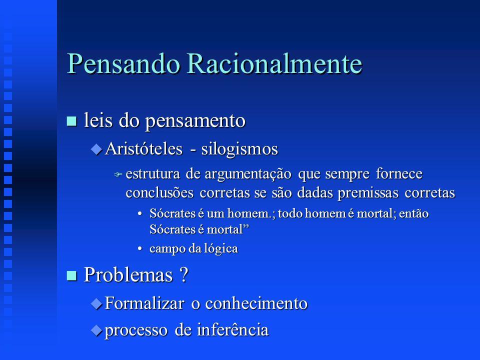Pensando Racionalmente n leis do pensamento u Aristóteles - silogismos F estrutura de argumentação que sempre fornece conclusões corretas se são dadas