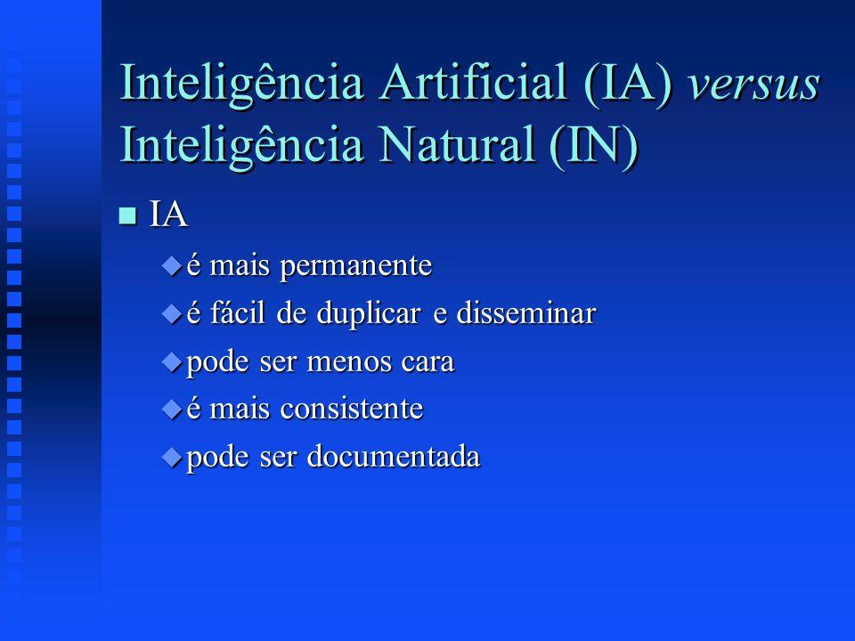 Inteligência Artificial (IA) versus Inteligência Natural (IN) n IA u é mais permanente u é fácil de duplicar e disseminar u pode ser menos cara u é ma