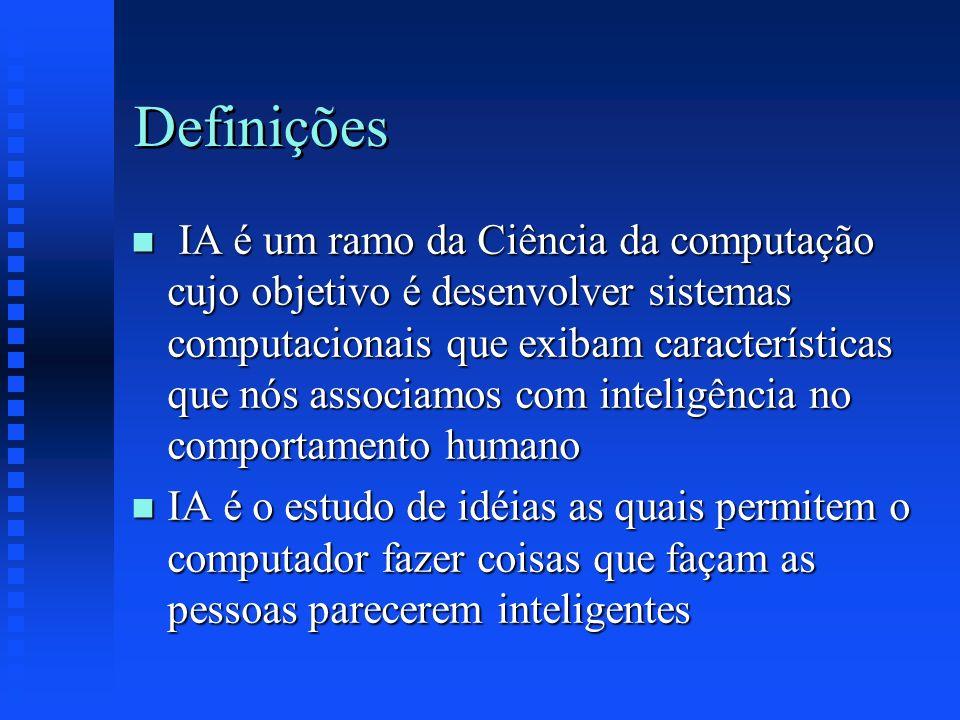Definições n IA é um ramo da Ciência da computação cujo objetivo é desenvolver sistemas computacionais que exibam características que nós associamos c