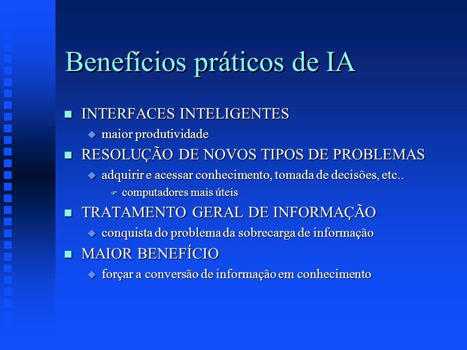 Benefícios práticos de IA n INTERFACES INTELIGENTES u maior produtividade n RESOLUÇÃO DE NOVOS TIPOS DE PROBLEMAS u adquirir e acessar conhecimento, t