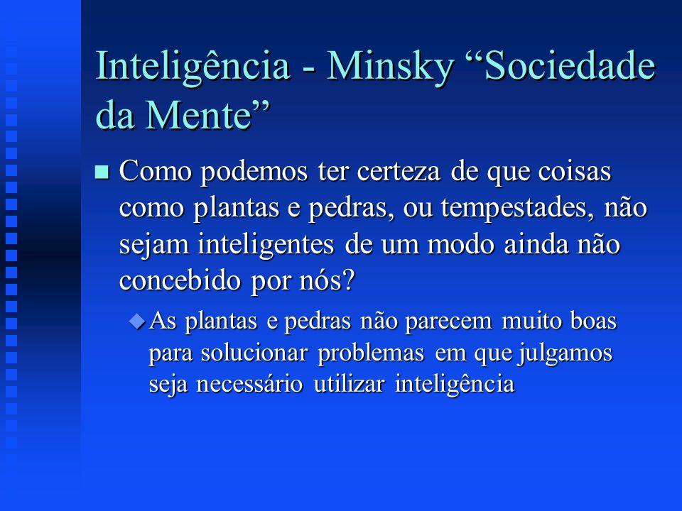 Inteligência - Minsky Sociedade da Mente n Como podemos ter certeza de que coisas como plantas e pedras, ou tempestades, não sejam inteligentes de um