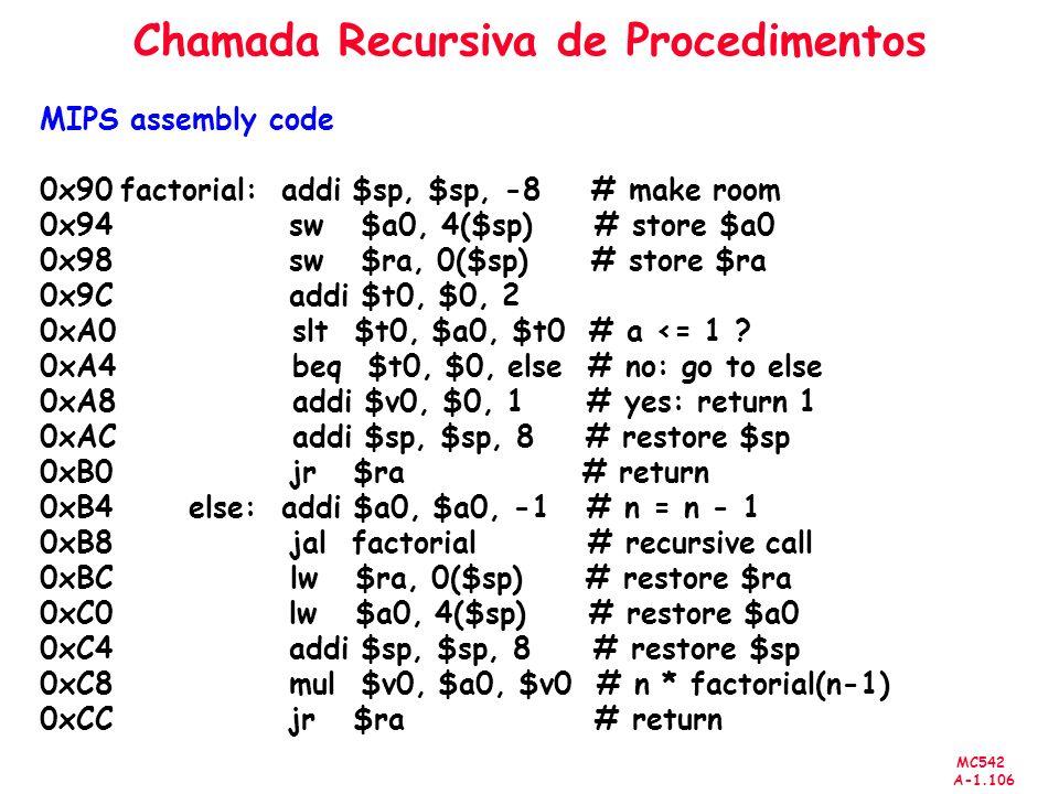 MC542 A-1.106 Chamada Recursiva de Procedimentos MIPS assembly code 0x90 factorial: addi $sp, $sp, -8 # make room 0x94 sw $a0, 4($sp) # store $a0 0x98