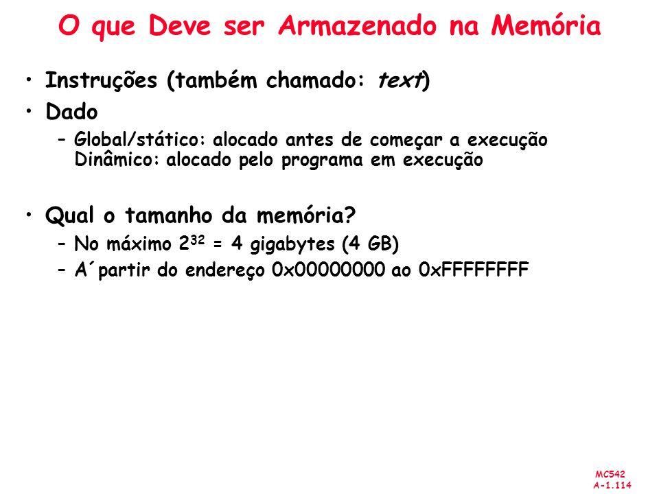 MC542 A-1.114 O que Deve ser Armazenado na Memória Instruções (também chamado: text) Dado –Global/stático: alocado antes de começar a execução Dinâmic