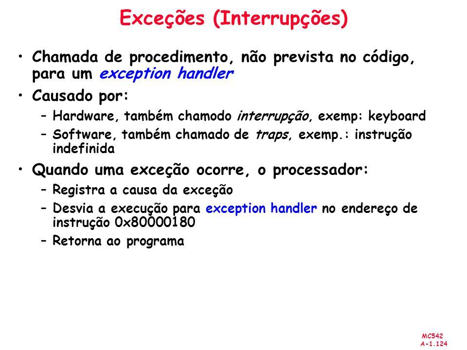 MC542 A-1.124 Exceções (Interrupções) Chamada de procedimento, não prevista no código, para um exception handler Causado por: –Hardware, também chamod