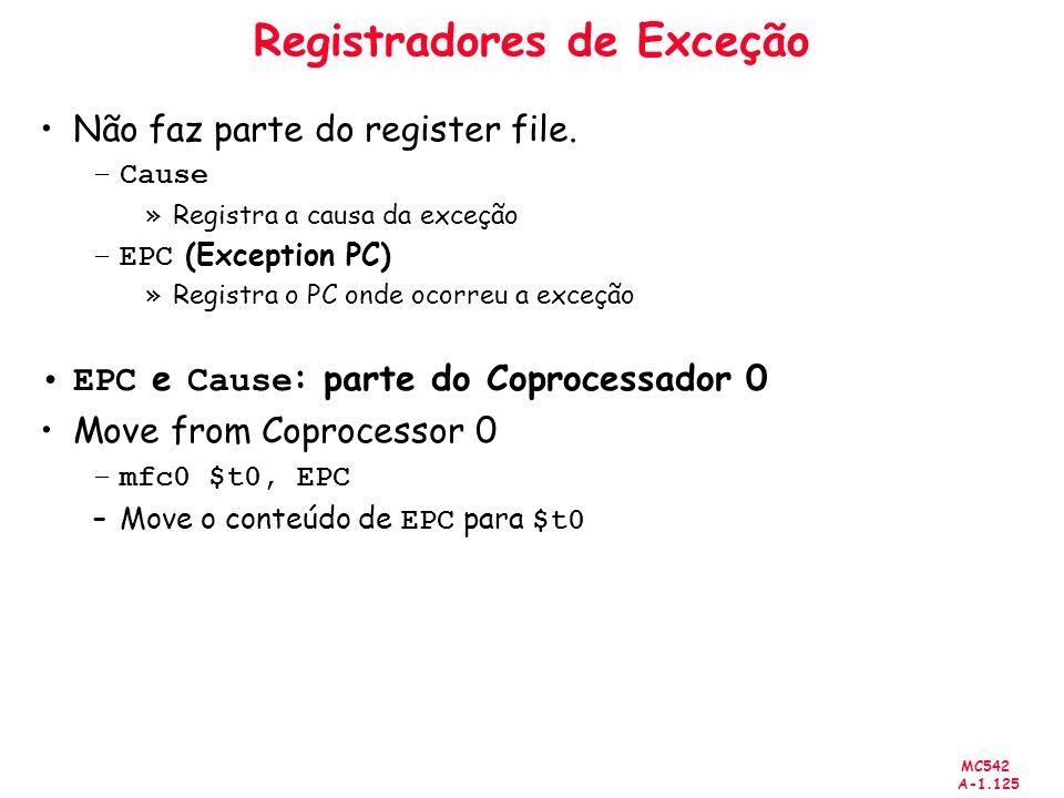 MC542 A-1.125 Registradores de Exceção Não faz parte do register file. –Cause »Registra a causa da exceção –EPC (Exception PC) »Registra o PC onde oco