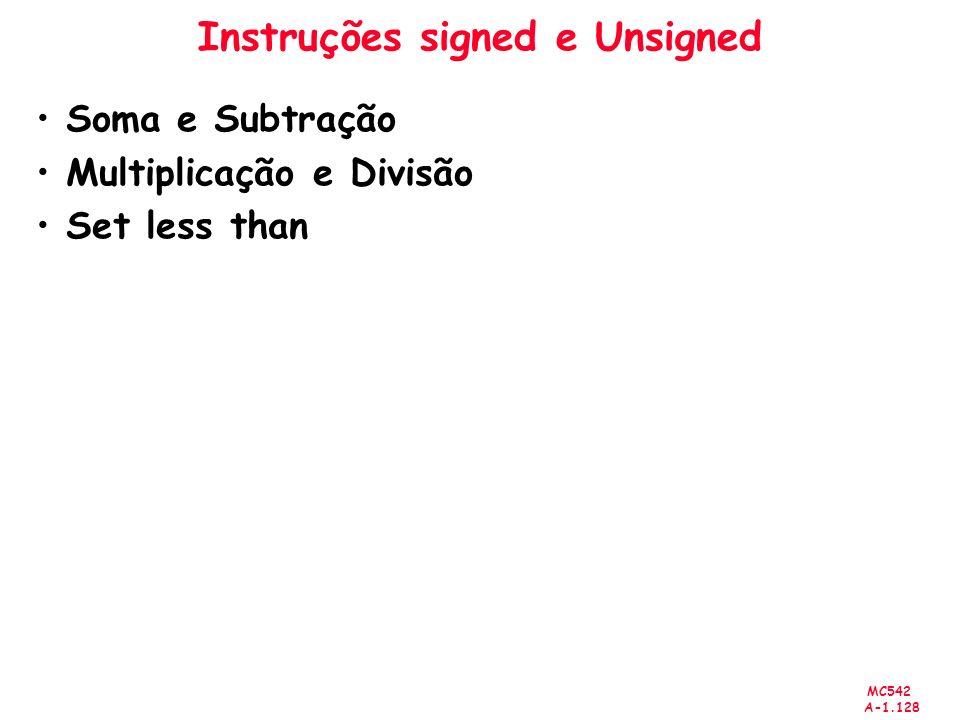 MC542 A-1.128 Instruções signed e Unsigned Soma e Subtração Multiplicação e Divisão Set less than