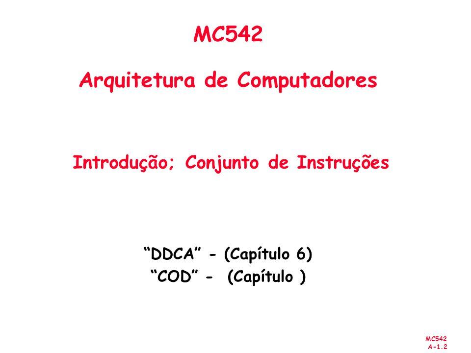 MC542 A-1.33 Codificação do conjunto de Instruções codificação de um RISC típico 3 formatos - MIPS R-type oprsshamtrdrtfunct 31 2621 16 11 6 0 6 bits 5 bits 5 bits 5 bits 5 bits 6 bits I-type oprtrsimmediate/address 6 bits 5 bits 5 bits 16 bits J-type optarget address 6 bits 26 bits