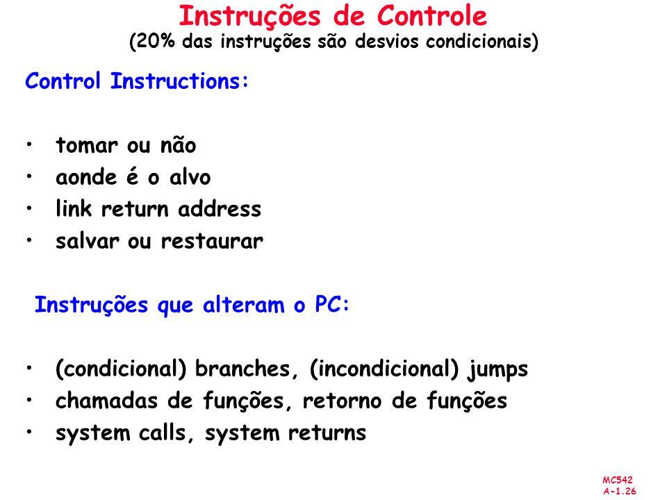 MC542 A-1.26 Instruções de Controle (20% das instruções são desvios condicionais) Control Instructions: tomar ou não aonde é o alvo link return addres