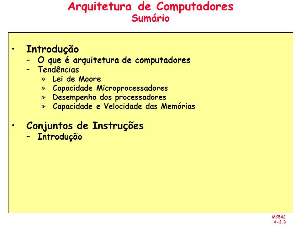 MC542 A-1.3 Arquitetura de Computadores Sumário Introdução –O que é arquitetura de computadores –Tendências »Lei de Moore »Capacidade Microprocessador
