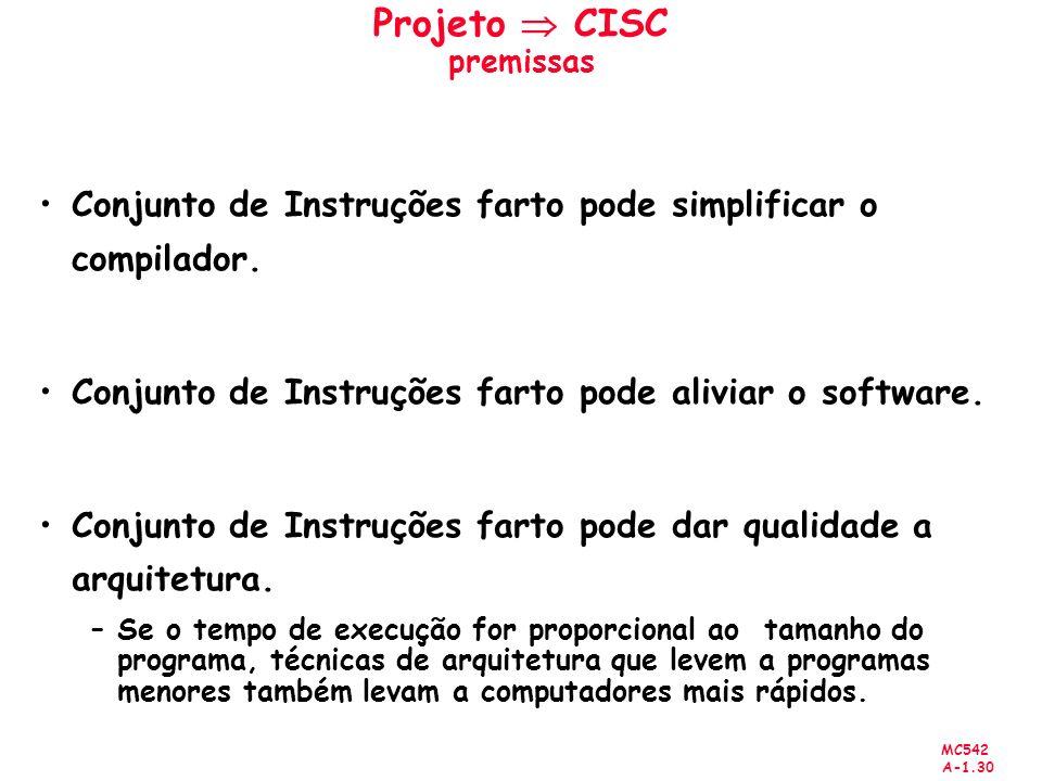 MC542 A-1.30 Projeto CISC premissas Conjunto de Instruções farto pode simplificar o compilador. Conjunto de Instruções farto pode aliviar o software.