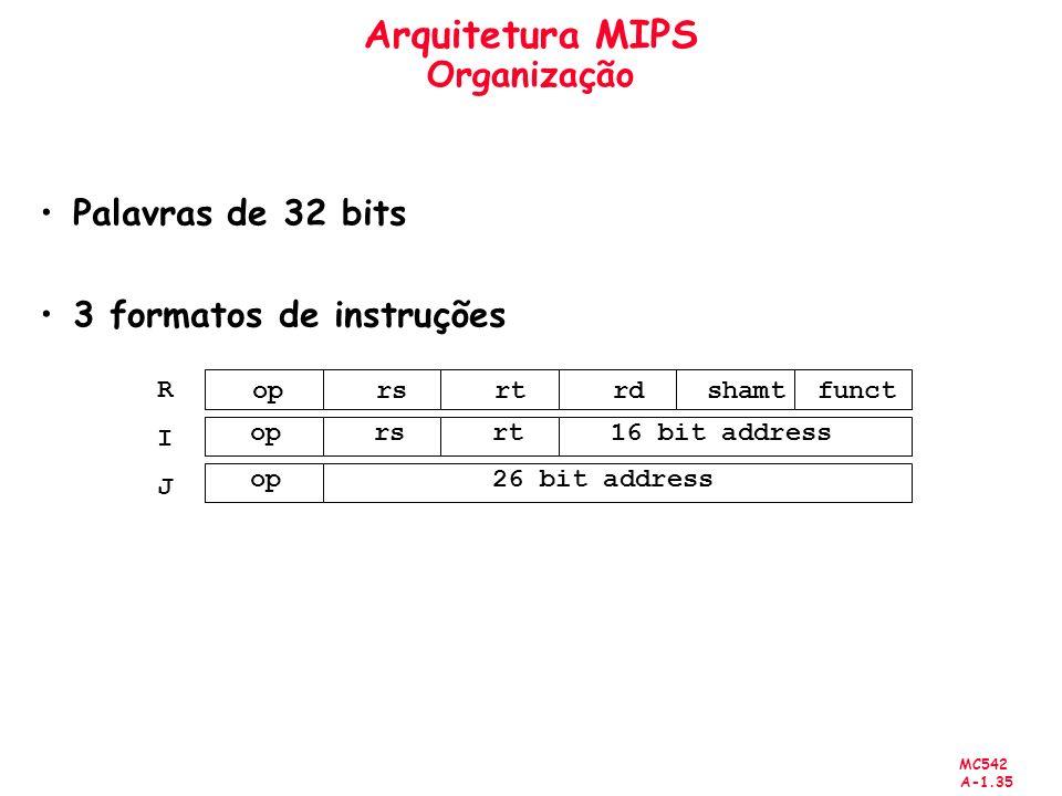 MC542 A-1.35 Arquitetura MIPS Organização Palavras de 32 bits 3 formatos de instruções op rs rt rdshamtfunct op rs rt 16 bit address op 26 bit address