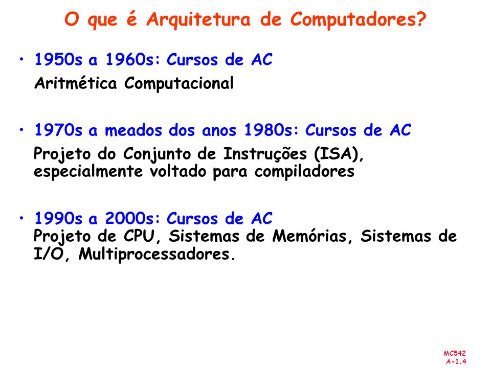 MC542 A-1.105 Chamada Recursiva de Procedimentos High-level code int factorial(int n) { if (n <= 1) return 1; else return (n * factorial(n-1)); }