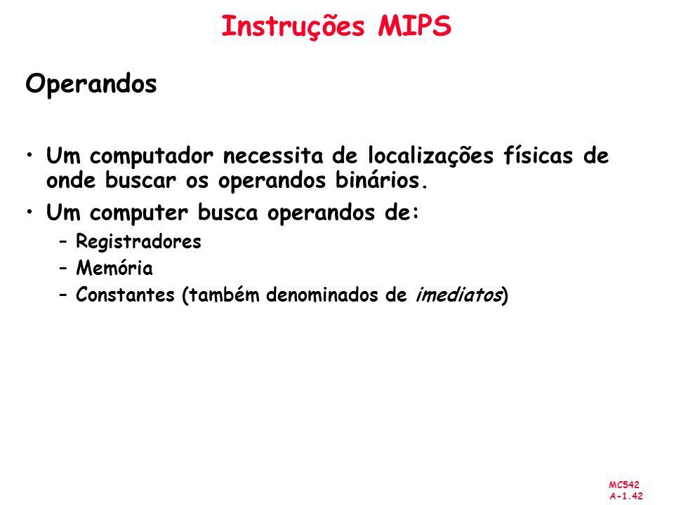 MC542 A-1.42 Instruções MIPS Operandos Um computador necessita de localizações físicas de onde buscar os operandos binários. Um computer busca operand