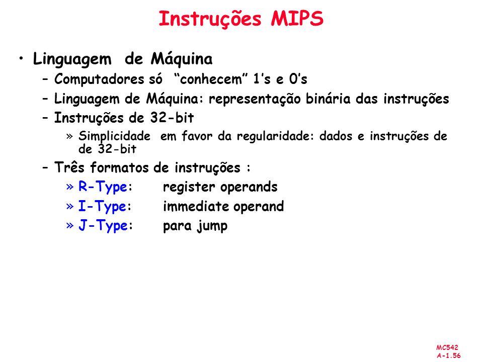 MC542 A-1.56 Instruções MIPS Linguagem de Máquina –Computadores só conhecem 1s e 0s –Linguagem de Máquina: representação binária das instruções –Instr