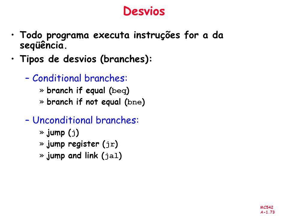MC542 A-1.73 Desvios Todo programa executa instruções for a da seqüência. Tipos de desvios (branches): –Conditional branches: »branch if equal ( beq )