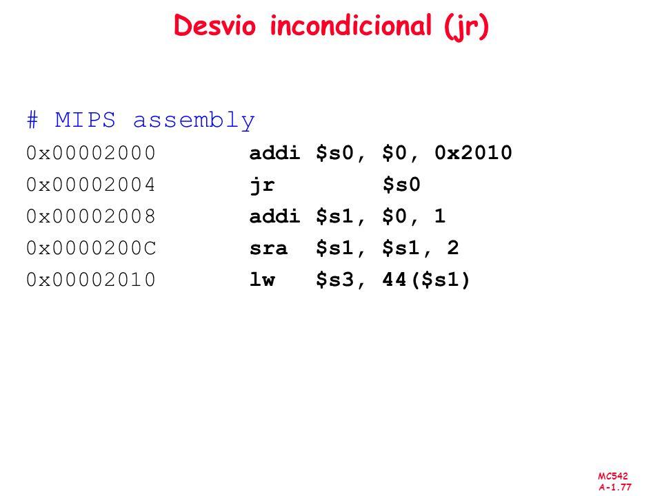 MC542 A-1.77 Desvio incondicional (jr) # MIPS assembly 0x00002000 addi $s0, $0, 0x2010 0x00002004 jr $s0 0x00002008 addi $s1, $0, 1 0x0000200C sra $s1