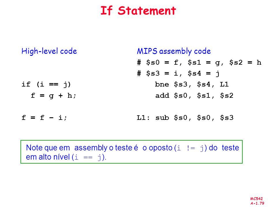 MC542 A-1.79 If Statement High-level code if (i == j) f = g + h; f = f – i; MIPS assembly code # $s0 = f, $s1 = g, $s2 = h # $s3 = i, $s4 = j bne $s3,