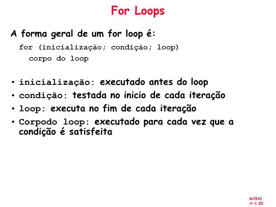 MC542 A-1.82 For Loops A forma geral de um for loop é: for (inicialização; condição; loop) corpo do loop inicialização: executado antes do loop condiç