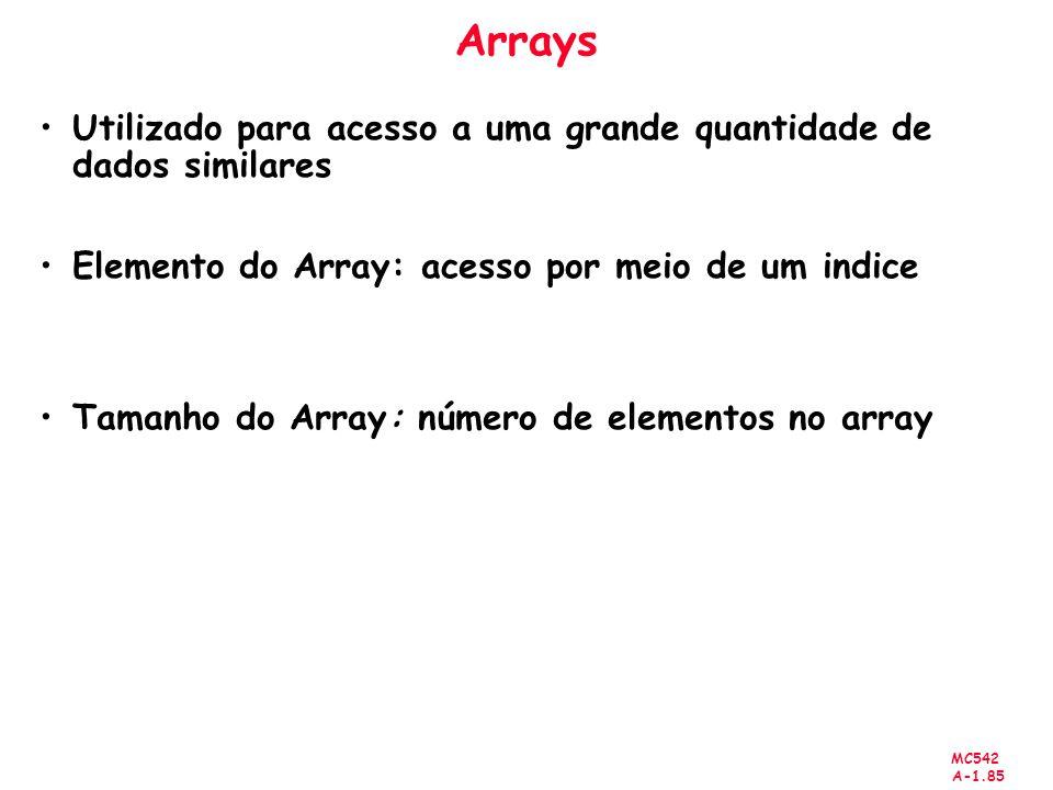 MC542 A-1.85 Arrays Utilizado para acesso a uma grande quantidade de dados similares Elemento do Array: acesso por meio de um indice Tamanho do Array: