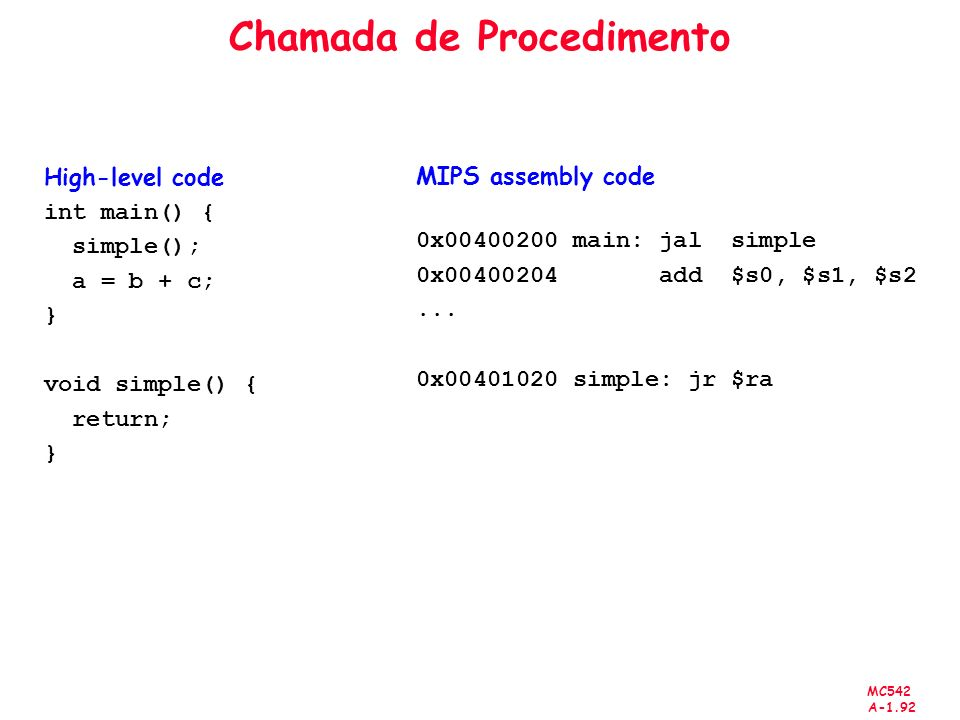 MC542 A-1.92 Chamada de Procedimento High-level code int main() { simple(); a = b + c; } void simple() { return; } MIPS assembly code 0x00400200 main: jal simple 0x00400204 add $s0, $s1, $s2...