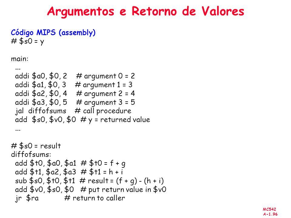 MC542 A-1.96 Argumentos e Retorno de Valores Código MIPS (assembly) # $s0 = y main:... addi $a0, $0, 2 # argument 0 = 2 addi $a1, $0, 3 # argument 1 =