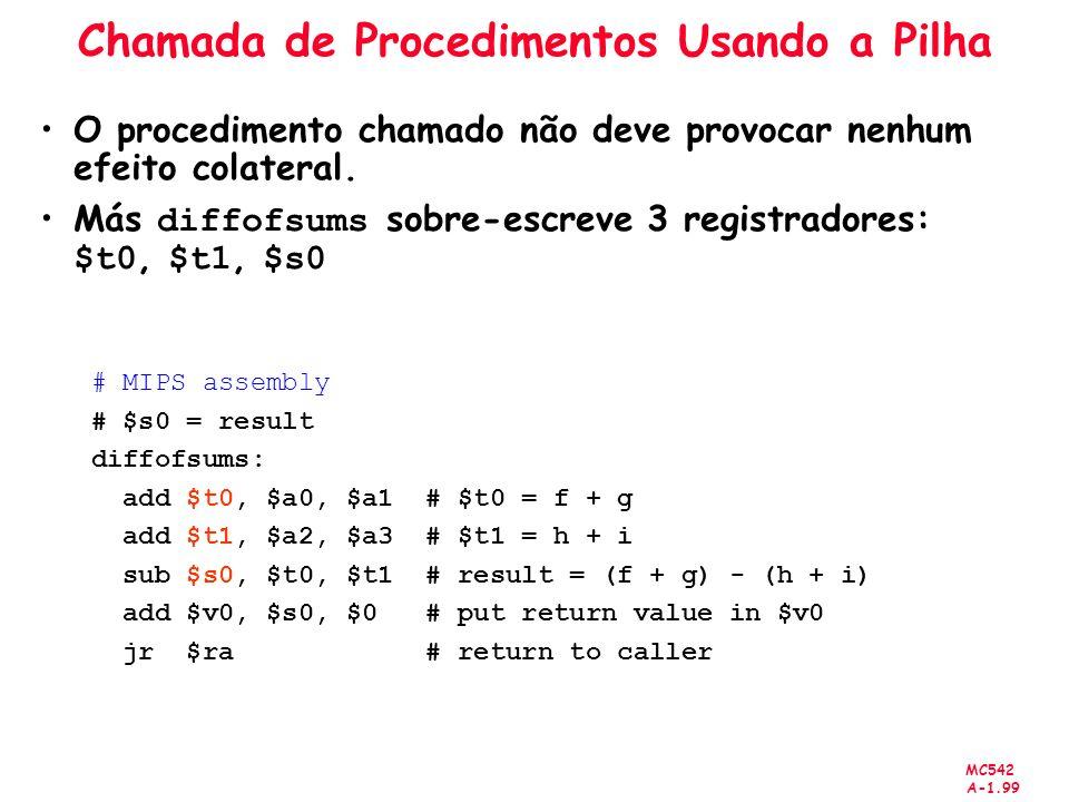 MC542 A-1.99 Chamada de Procedimentos Usando a Pilha O procedimento chamado não deve provocar nenhum efeito colateral. Más diffofsums sobre-escreve 3