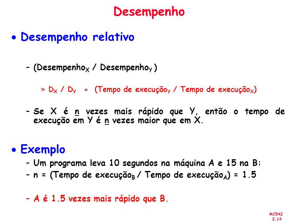 MC542 2.14 Desempenho Desempenho relativo –(Desempenho X / Desempenho Y ) »D X / D Y = (Tempo de execução Y / Tempo de execução X ) –Se X é n vezes ma