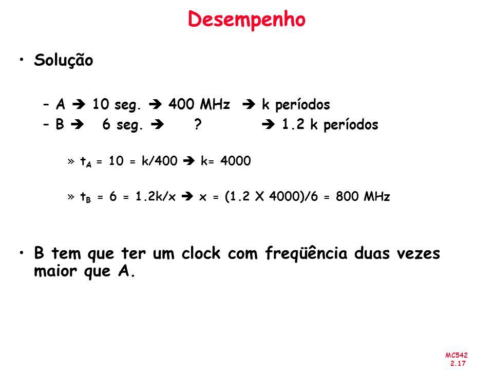 MC542 2.17 Desempenho Solução –A 10 seg. 400 MHz k períodos –B 6 seg. ? 1.2 k períodos »t A = 10 = k/400 k= 4000 »t B = 6 = 1.2k/x x = (1.2 X 4000)/6