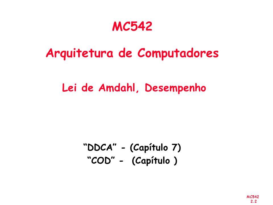MC542 2.23 Desempenho Exemplo de utilização de um conjunto de programas para um benchmark: Individualmente: A é 10 vezes mais rápido que B para o programa 1 B é 10 vezes mais rápido que A para o programa 2 Qual o mais rápido .