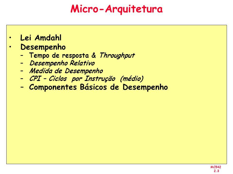 MC542 2.3 Micro-Arquitetura Lei Amdahl Desempenho –Tempo de resposta & Throughput –Desempenho Relativo –Medida de Desempenho –CPI – Ciclos por Instruç